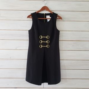 NWT Julie Brown black sleeveless dress gold accent